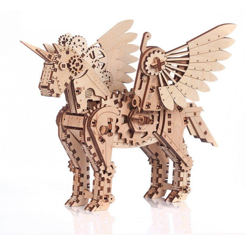 Puzzle maquette Licorne petite 3D mobile en bois Mr playwood - IkaIpaka Royan