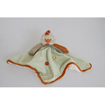 Doudou plat Coq - vert - Chicky Baby Rug - IkaIpaka Royan